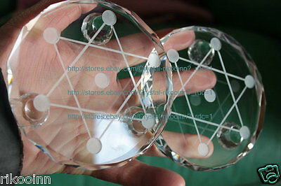 2 Pcs Super Water Clear Cute 7* Crystal Balls Sphere Base Stand 120mm (840g)