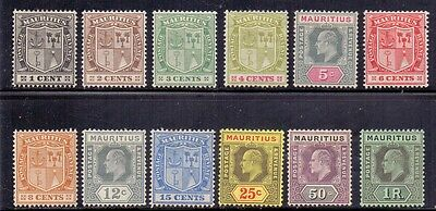 Mauritius. Short set of 12 LH mint stamps. 1910