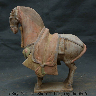 """12"""" Earthenware Tang Color Horse Antiquity Palace China Stand Sculpture Statue"""