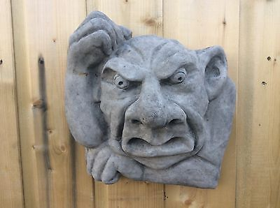 Large Stone Gargoyle Face Wall Plaque Garry Auction