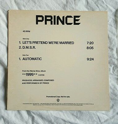 """Prince - Let's Pretend We're Married - USA PROMO 12"""" - PRO-A-1082"""