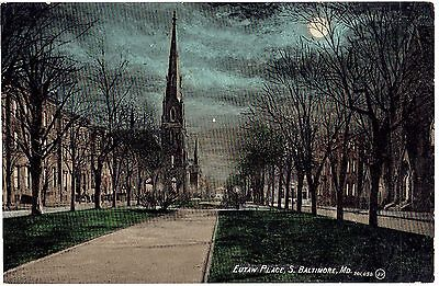 BALTIMORE MD Eutaw Place south at night PC post 1910