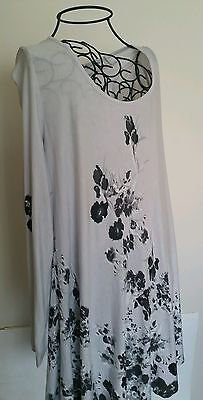 Soft Surroundings Dress size L Gray with black and white flower euc A line dress