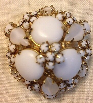 Vintage SCHREINER NEW YORK Signed Domed White Cabochon and Moonstone Pin Brooch