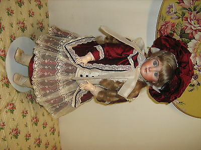 "Repro Jumeau Jointed Bisque Campbell's Dolls Catalina 26"" Blonde Blue Eyes"