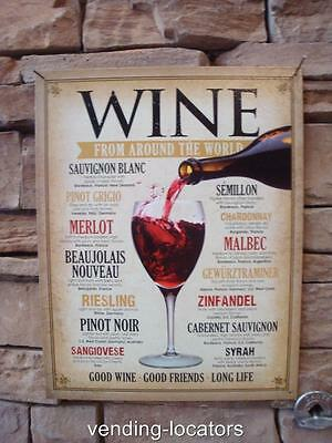 Wine Around the World Tin Sign Tin Sign - 12.5 x 16 NEW