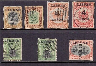 Labuan. 7 used stamps issued 1895/1901