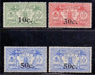 New Hebrides - French issues. Set of 4 LH Mint surcharged stamps. 1924