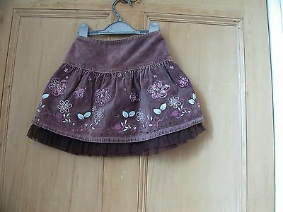 brown/purple next velvet blue embroidered flowers skirt age 2-3