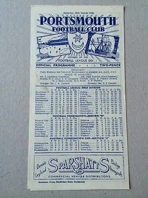 25th MARCH 1950..PORTSMOUTH v CHELSEA PROGRAMME..