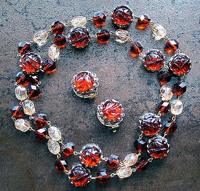 Vintage Western Germany Amber and Aurora Borealis Lucite Necklace and Earrings