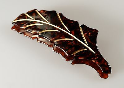 Vintage Carved Plastic Lucite Cellulose Acetate Brown Gold Double Leaf Pin