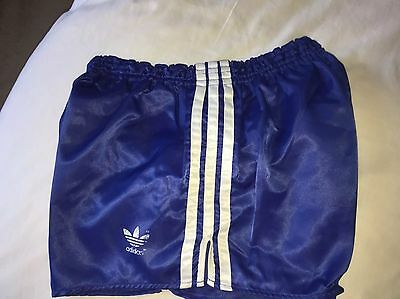 Amazing Vintage Condition Adidas Shiny Satin Sprinter Shorts Navy Medium D6