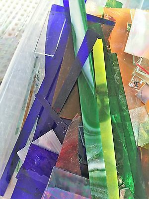 10 1/2 large SCRAP stained glass scrap glass
