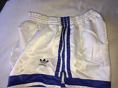 Amazing Vintage Condition Adidas Shiny Satin Sprinter Shorts White Medium D6