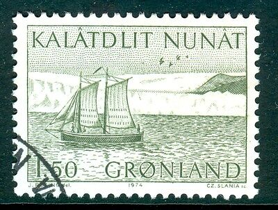 GREENLAND 1974 stamp Long Boat fine used (CTO) Ships Birds