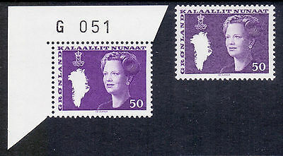 GREENLAND 1981-1989 stamps Queen Margrethe Type III 50 øre shades um (NH) mint