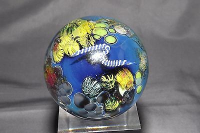 Vintage Josh Simpson Inhabited Planet Art Glass Marble Signed With Snake Cane