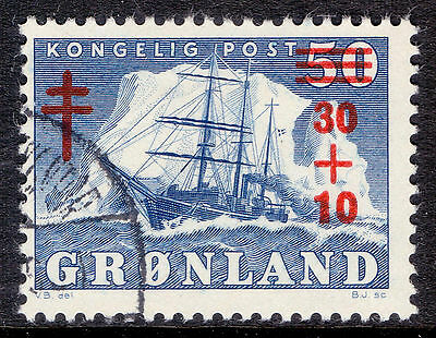 GREENLAND 1958 stamp Tuberculosis Fund fine used (CTO) Ships Surcharged