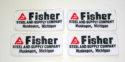 4 Vintage Fisher Steel & Supply Co. Muskegon Mich Patch New NOS 1970s