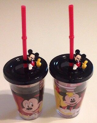 Disney Store Mickey Mouse Tumbler Twist Tight Lid & Straw BPA Free Set Of 2