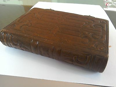 Antique leather bound book French Imitation re Jesus-Christ 1860 Tours Clasp