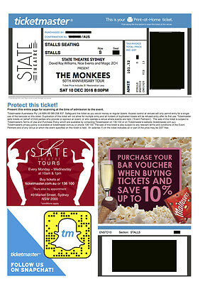 1 x The Monkees ticket State Theatre 10 Dec 2016