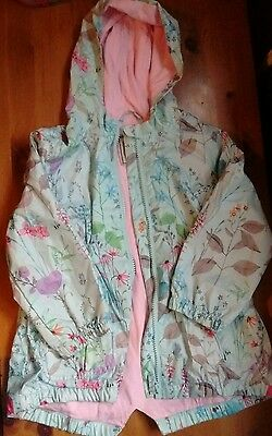 Next girls green floral rain jacket coat age 2-3 yrs