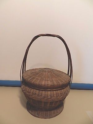 RARE Antique Basket with Dome Lid and Handle-Very Nice Condition!