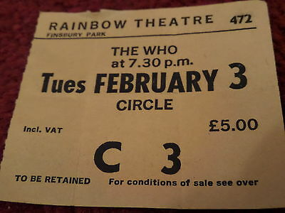 The WHO - Genuine Concert Ticket for RAINBOW THEATRE, LONDON - February 3rd 1981