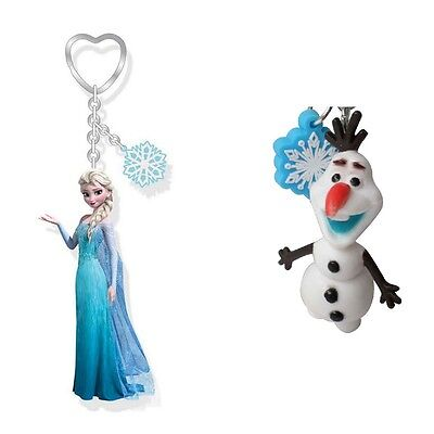 Genuine Disney Frozen Olaf Snowman / Elsa 3D Figure and Snowflake Charm Keyring