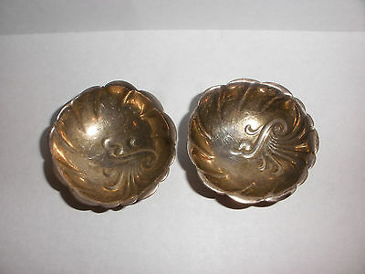 Pair of antique Towle sterling silver ornate footed open salts salt cellar 25