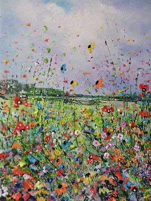"Acrylic Oil  Painting On  Canvas "" Wildflowers"""