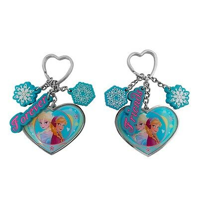 Pair of Genuine Disney Frozen Elsa and Anna Forever Friends Hearts Keyring Set