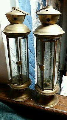 "Pair Vintage 12"" etched glass brass candle holders hanging lanterns"