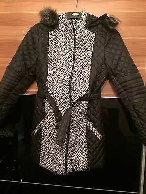 Girls Littlewoods Quilted Parka Coat Jacket Fur Hood Age 13-14 Years