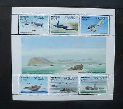 MALDIVE ISLANDS 1995 Aircraft Peace in the Pacific. Sheetlet of 6. MNH SG2279/84