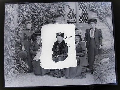 Large Vintage Glass Negative.Group Of Ladies,Period Dress With Some Blacked Out
