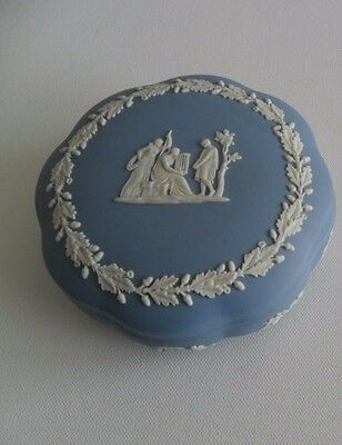 Wedgwood Blue Jasperware Scalloped Trinket/Candy Box
