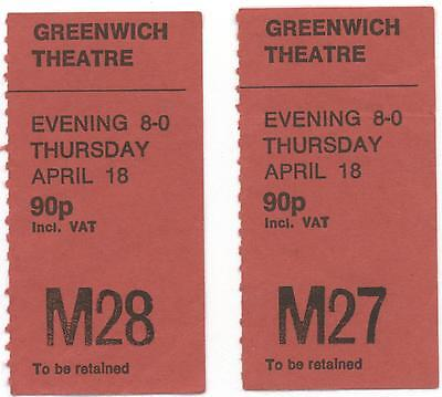GREENWICH THEATRE LONDON - 1970's TICKET STUBS