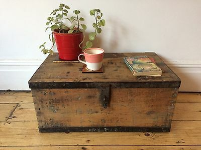 Antique Small Travel Trunk Pine Storage Box Coffee Table Worn Metal Edging