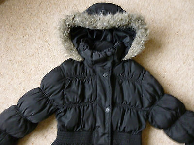 Girls NEXT padded black hooded coat aged 5-6 years