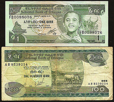Ethiopia - Set of 1 & 100 Birr notes - details in listing
