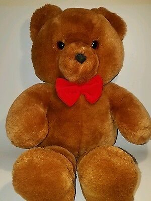 """Dakin 20"""" plush adorable brown Teddy Bear with red bow tie"""