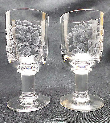 Dartington FT33 Vintage Victoria Goblets + Flower Engravings – A Pair