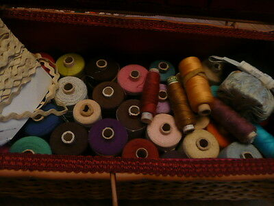 vintage Sewing Basket & Vintage coats swallow Threads and other items