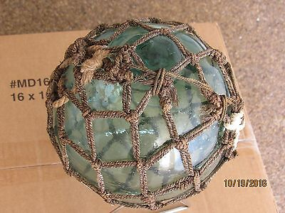 Antique, Glass Fishing Float With Rope, 24 Inches Circumference, Aqua Green