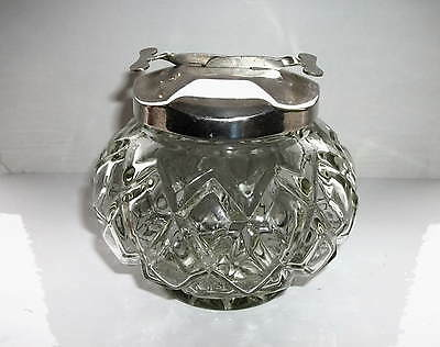 Vintage Glass Sugar Cuber Bowl With Tongs In Lid