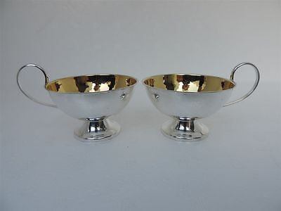 Pair Exquisite Swedish Solid Silver 830 Tea Cups By Ceson Sweden 2.2 Oz 63 Grams