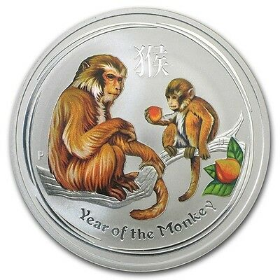 1oz Colored Year of the Monkey Coloured 2016 1AUD 999/1000 Fine Silver + Capsule